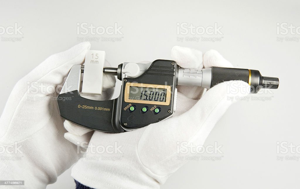 Handling of a micrometer stock photo