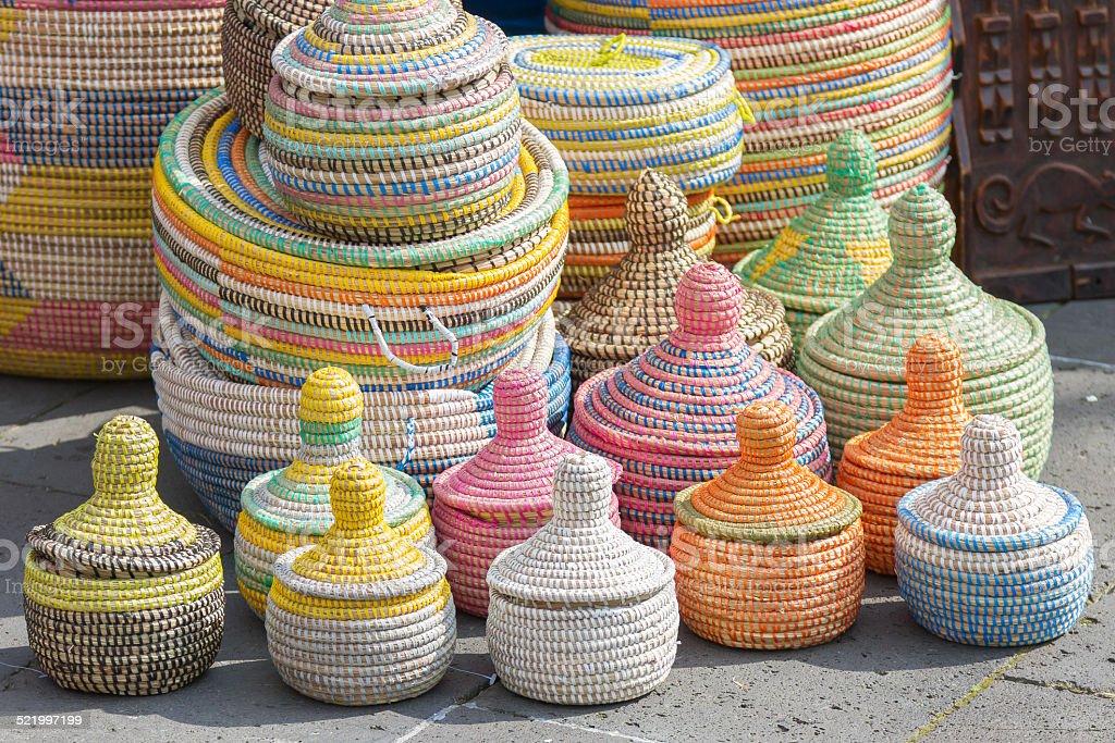 Handmade African Sea Grass Baskets stock photo