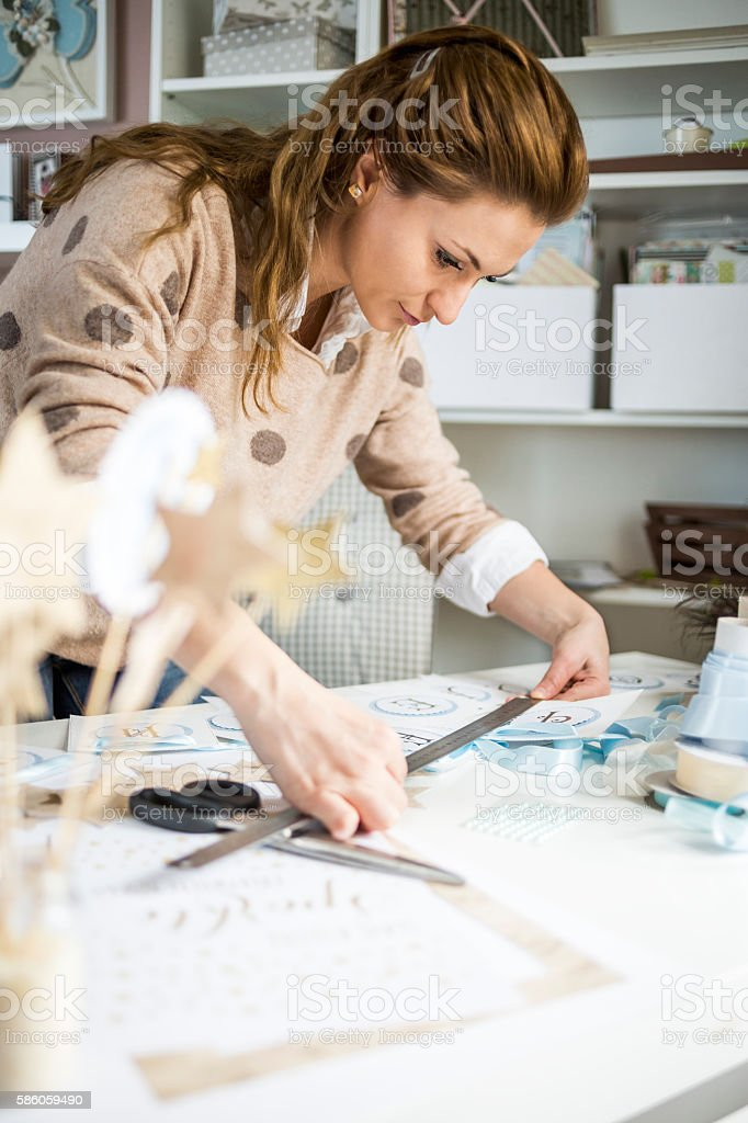 Handmade and business stock photo