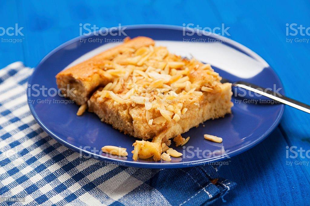 Handmade apple cake with almond stock photo
