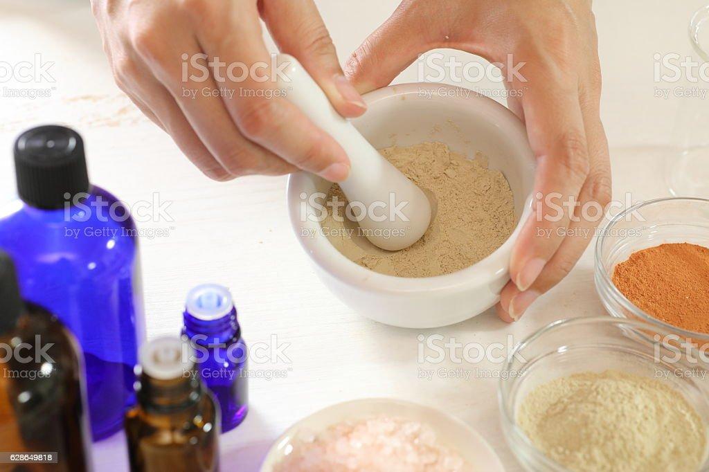 Handmade aroma cosmetic material stock photo