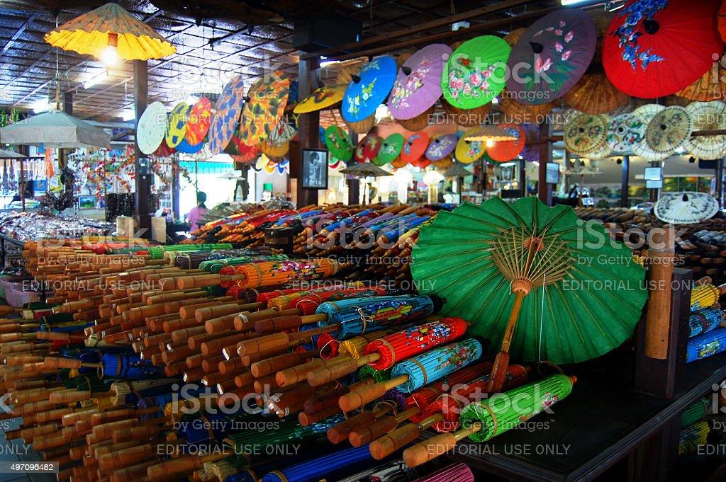 Handmade Art Umbrella for show and sale traveler at Bo-sang stock photo