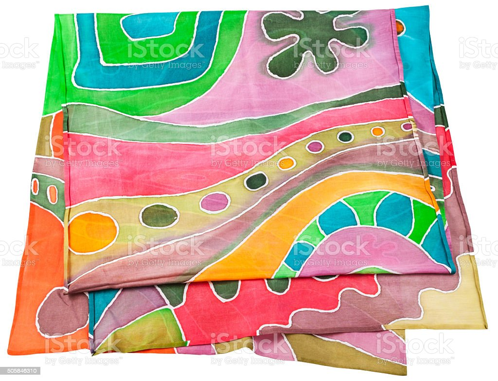 handmade batik silk scarf with geometric pattern stock photo
