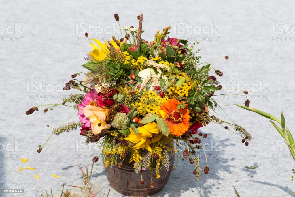 handmade  beautiful bouquets from flowers and herbs stock photo