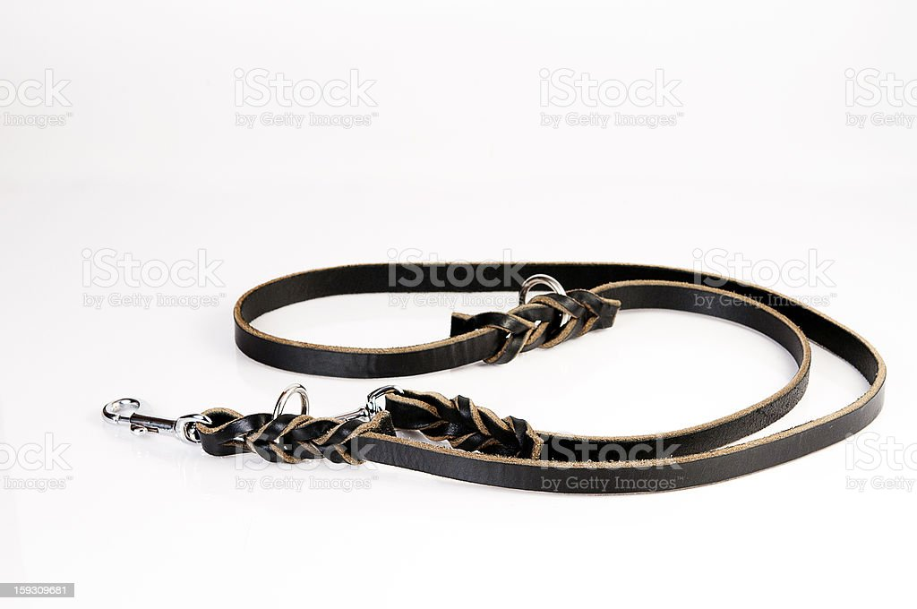 Handmade black leather braided dog leash royalty-free stock photo