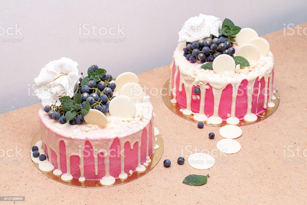 Handmade cake drizzled with white chocolate stock photo
