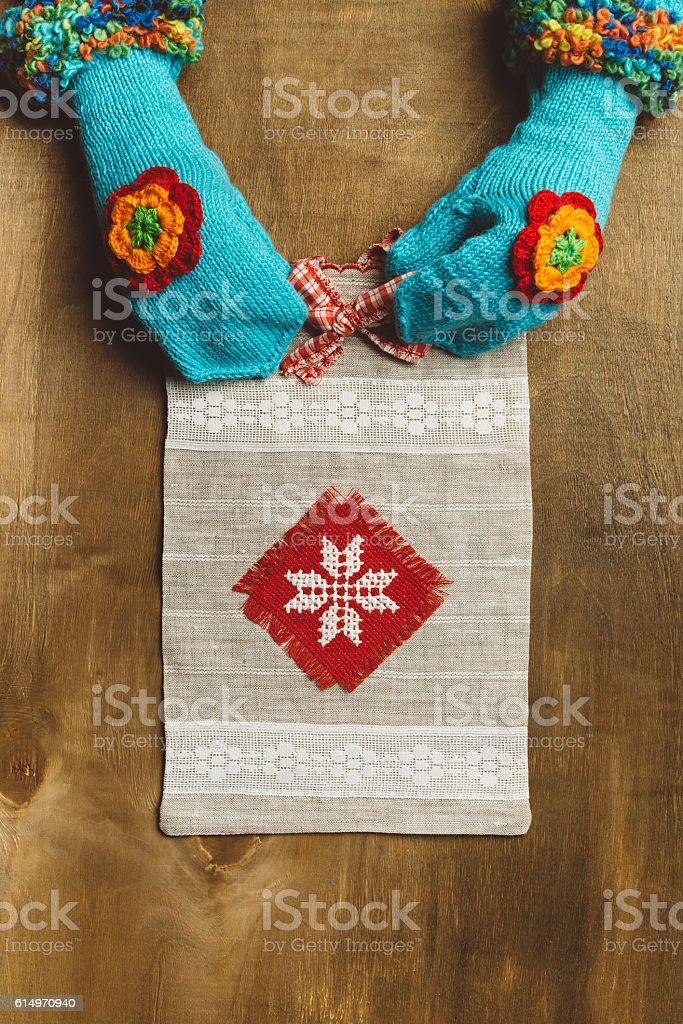 Handmade canvas tote bag stock photo