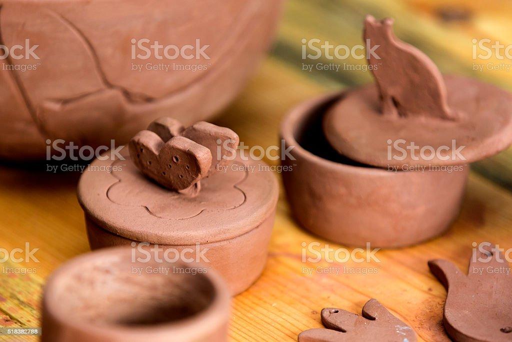 Handmade ceramics, cat figure stock photo