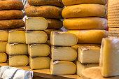 Handmade cheeses exposed