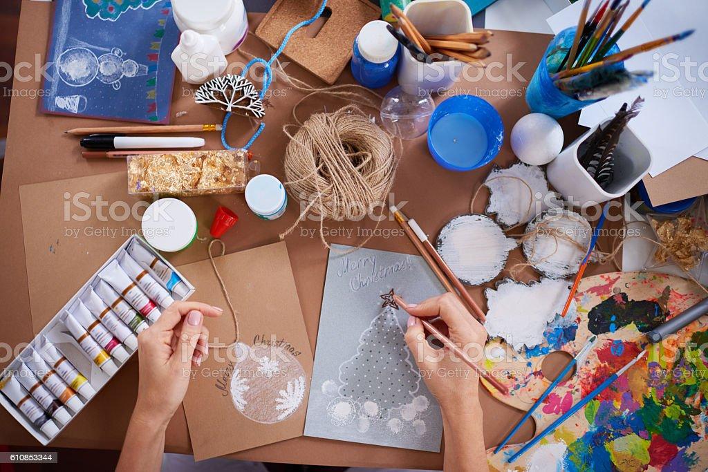 Handmade Christmas card stock photo