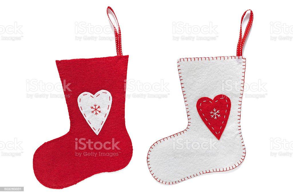 Handmade Christmas stockings isolated on white stock photo