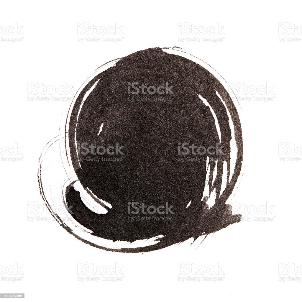 Handmade  circle drawing ink black brush sketch on isolated whit stock photo