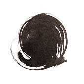 Handmade  circle drawing ink black brush sketch on isolated whit