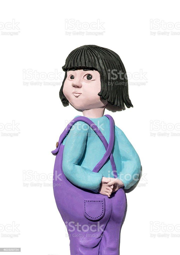 handmade clay illustration, little asian girl looking back stock photo
