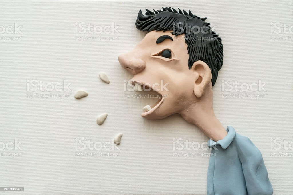 handmade clay illustration, man shouting angrily stock photo