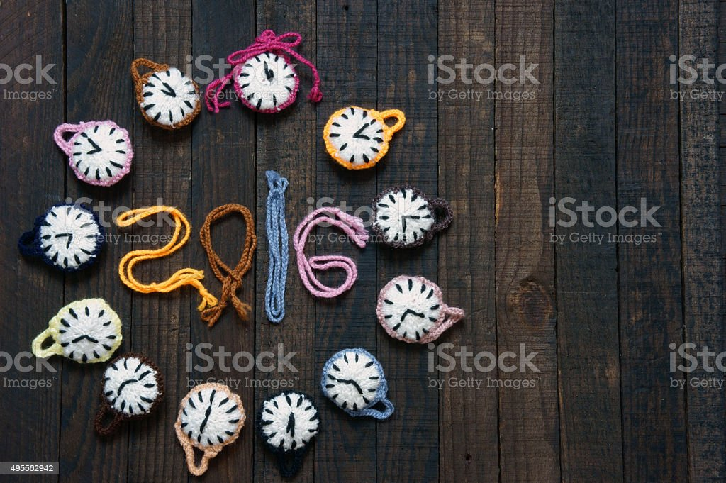 Handmade, clock, happy new year 2016, time stock photo