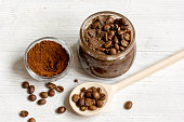handmade coffee-cocoa scrub on wooden background close up