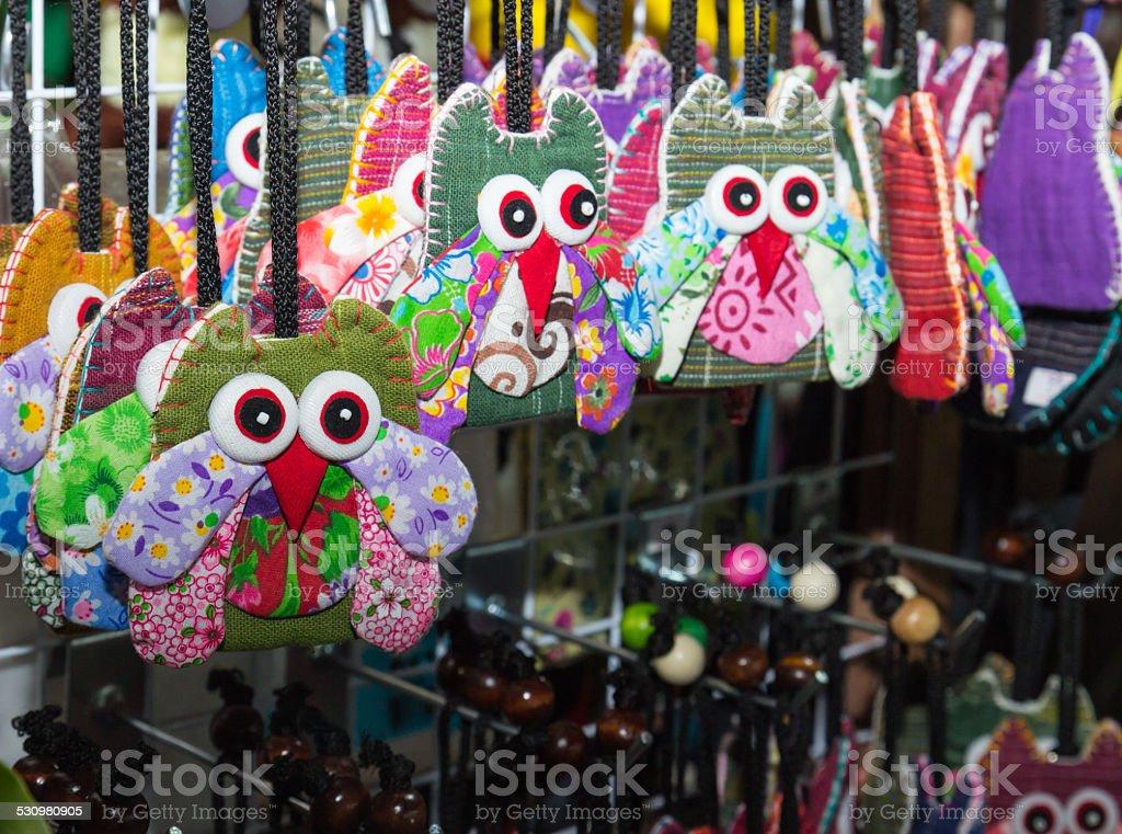 handmade colorful fabric owl key chain stock photo