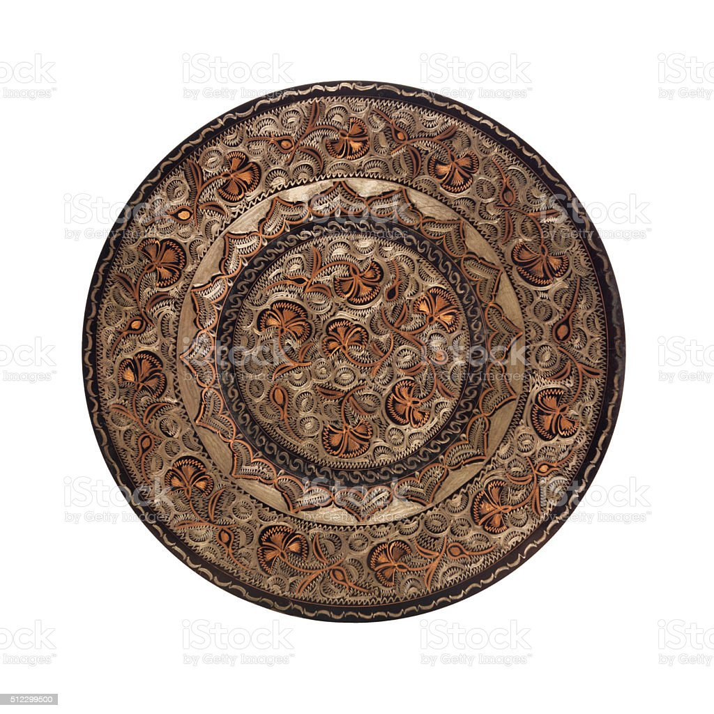 Handmade copper plate. stock photo