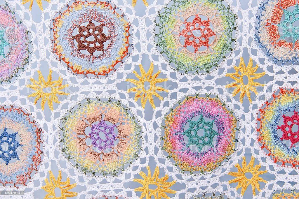 Handmade crochet fabric pattern royalty-free stock photo