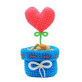 handmade crochet heart on white background