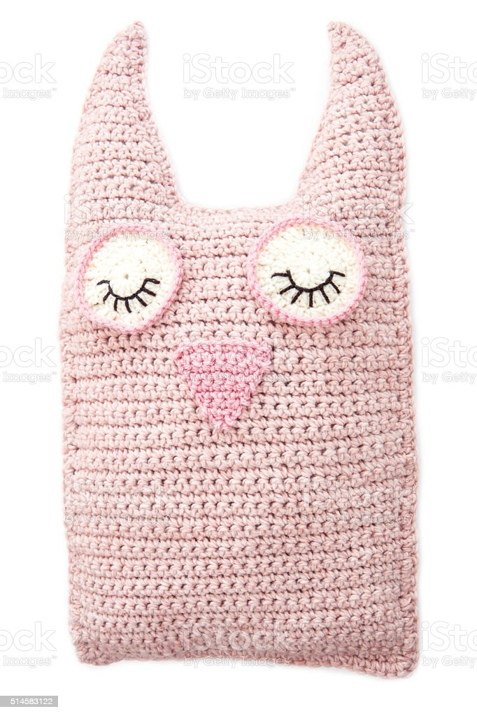 Handmade Crochet Pink Toy Owl Isolated On White stock photo