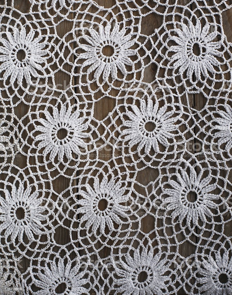 Handmade crochet tablecloth pattern royalty-free stock photo