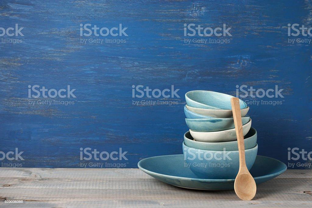 Handmade crockery set stock photo