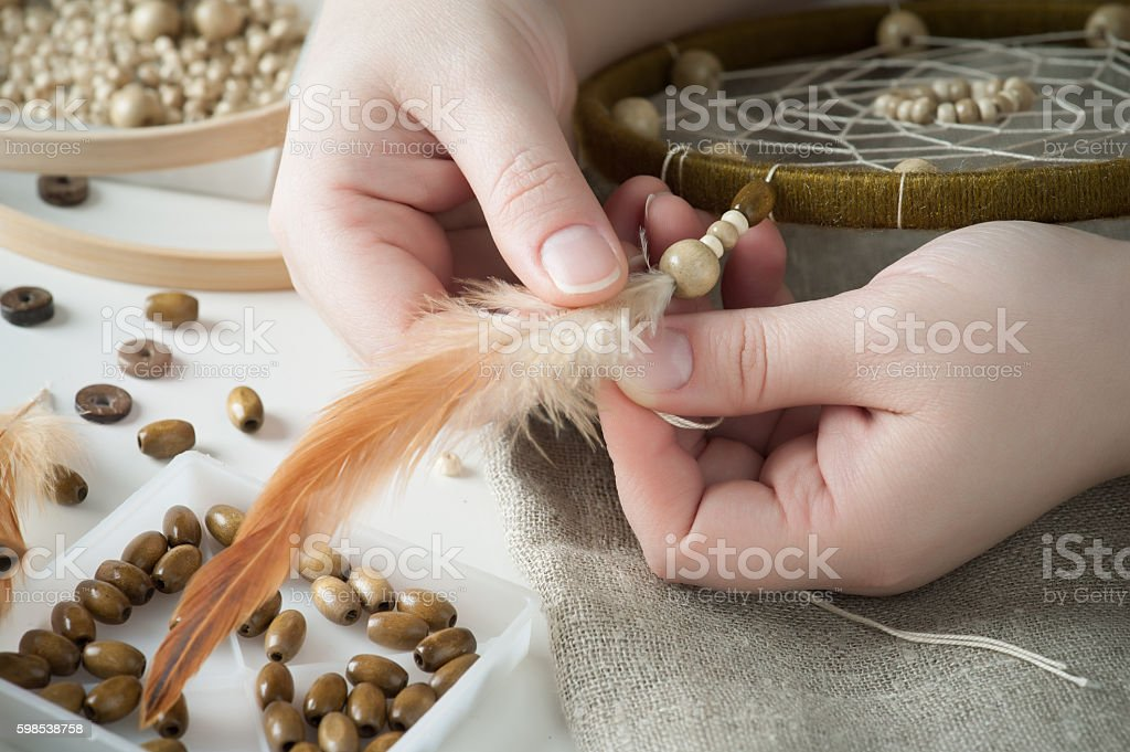 Handmade dream catcher with feathers stock photo