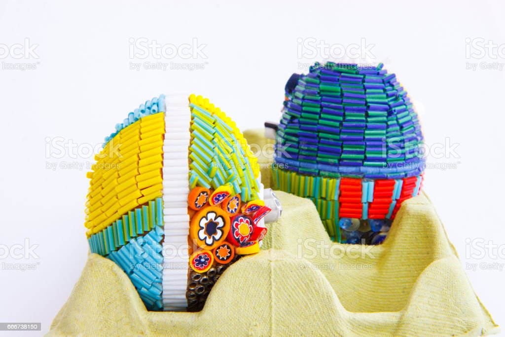 handmade easter eggs II stock photo