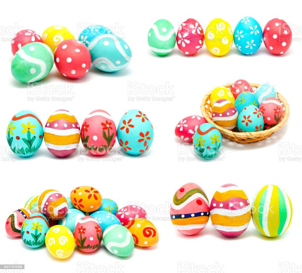 handmade easter eggs isolated stock photo