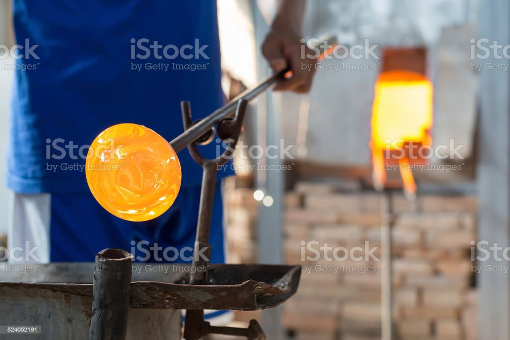 Handmade figures of melted glass stock photo