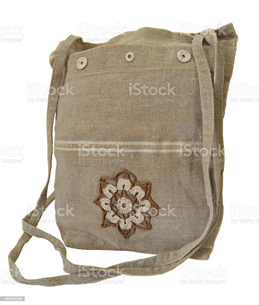 Handmade flax handbag stock photo