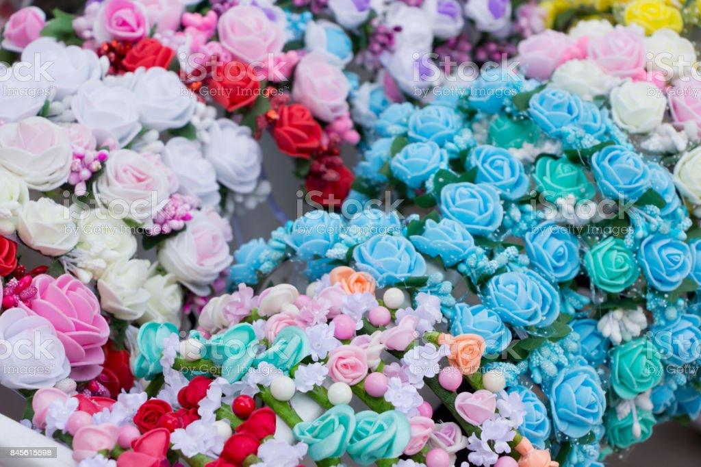 Handmade flower wreaths, tradition Ukrainian woomens headdress ,female decoration stock photo