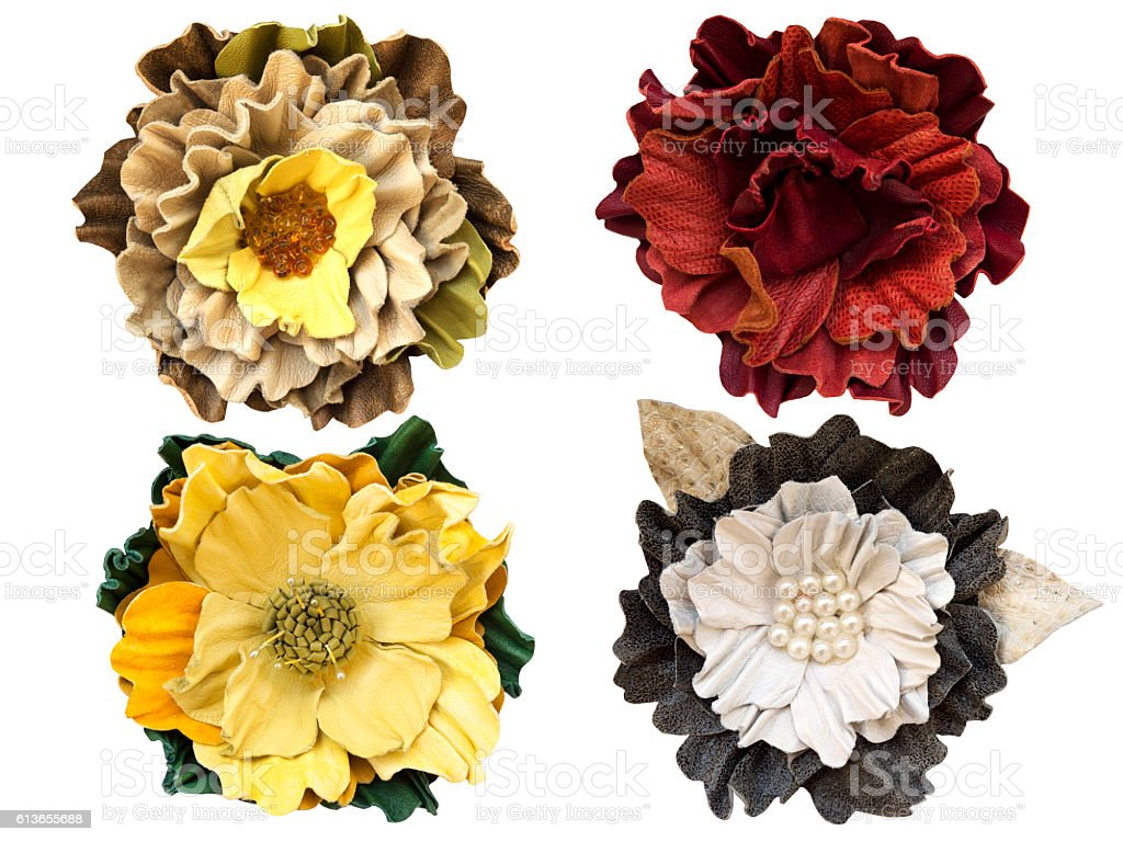 Handmade flowers leather brooch stock photo