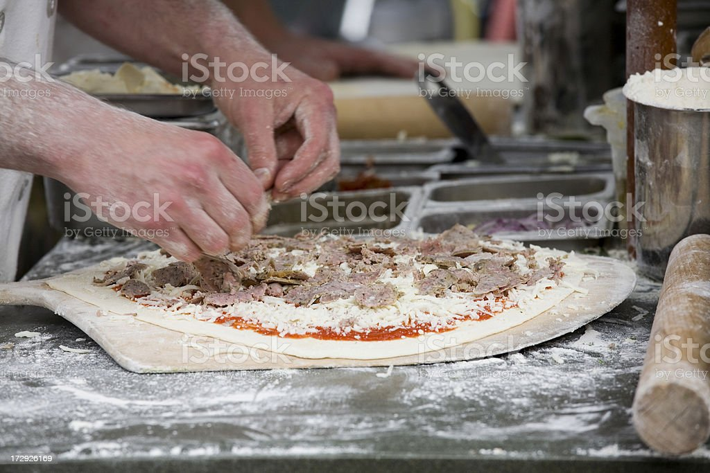 Handmade fresh fire baked pizza stock photo