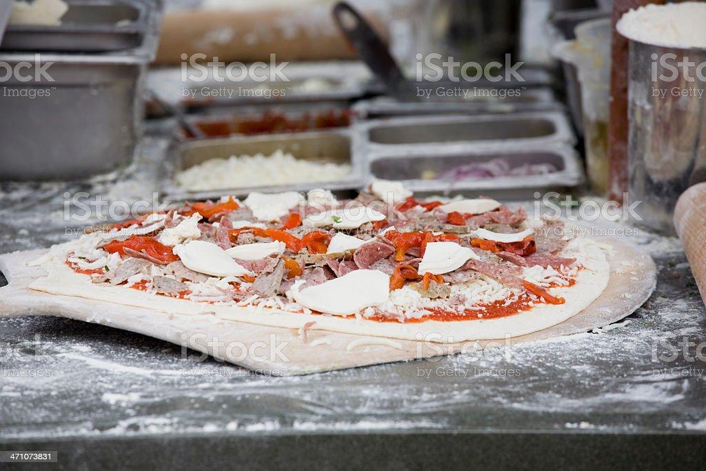 Handmade fresh fire baked pizza royalty-free stock photo