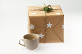 Handmade gift box with cup. New year present.