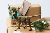 Handmade gift box with deer. New year present.