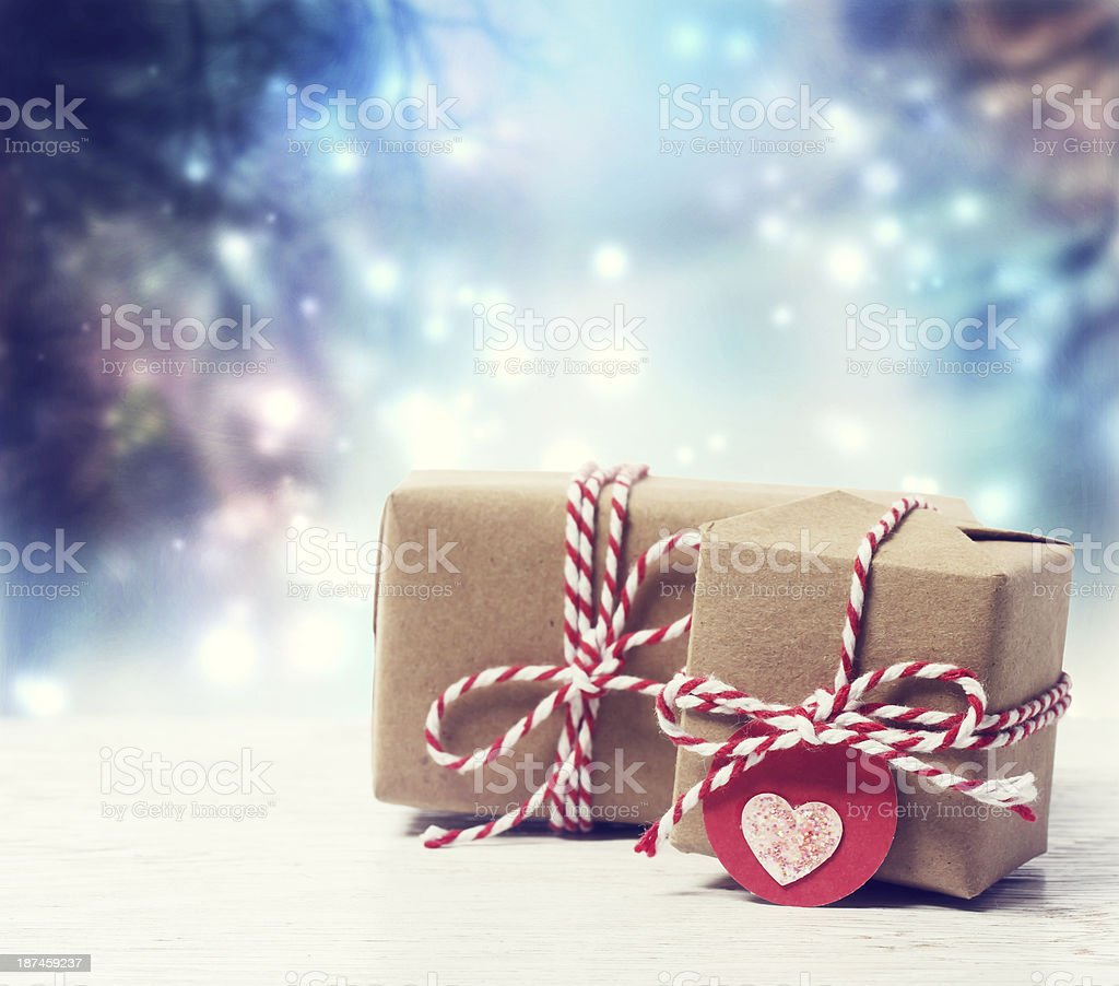 Handmade gift boxes in shiny night stock photo