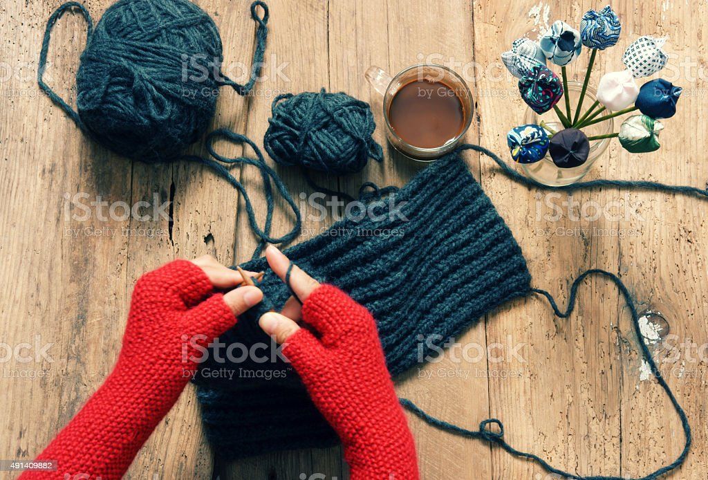 Handmade gift, special day, wintertime, knit, scarf stock photo