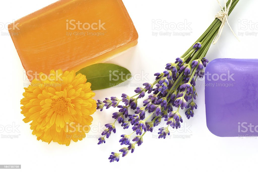 Handmade glycerin soaps with flowers. royalty-free stock photo