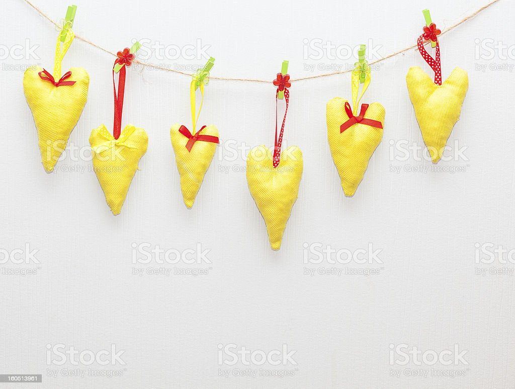 handmade hearts hanging royalty-free stock photo
