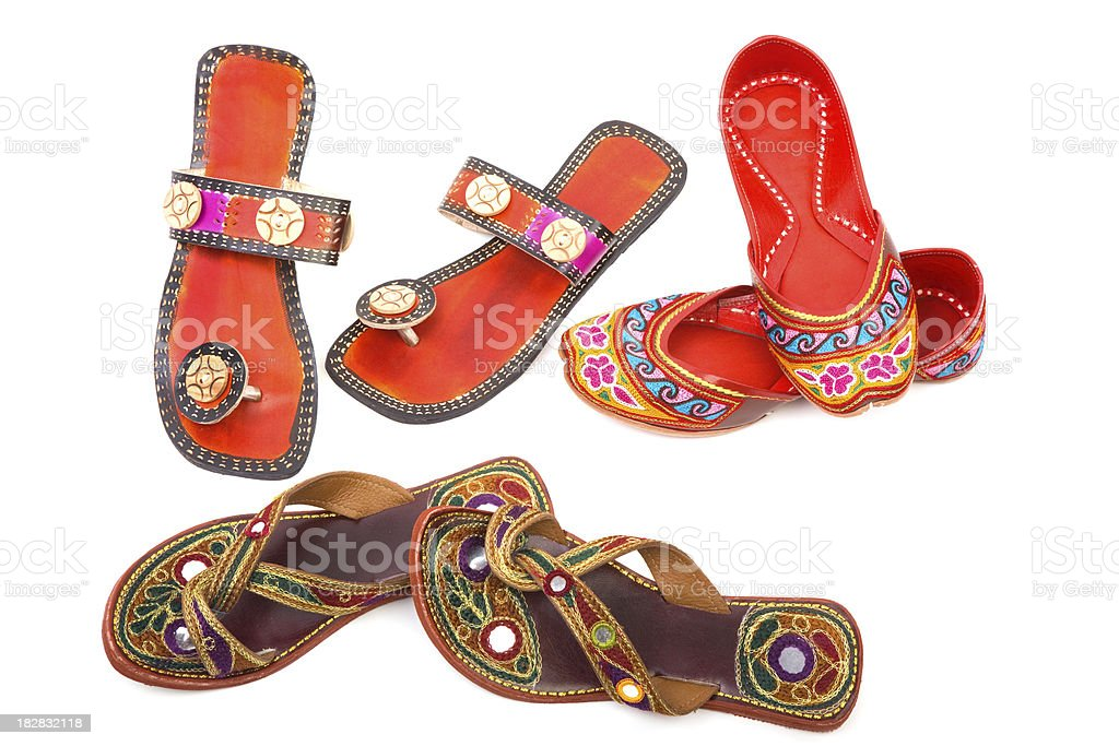 Handmade indian shoes stock photo