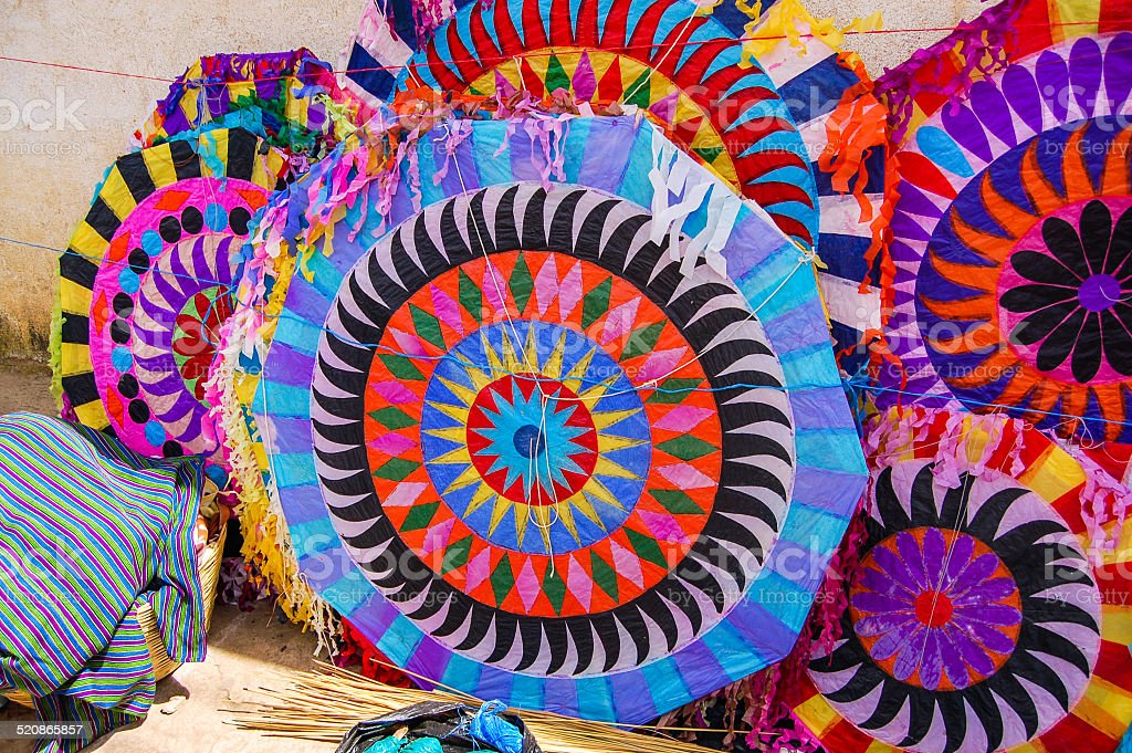 Handmade kites for sale on street, All Saints' Day, Guatemala stock photo