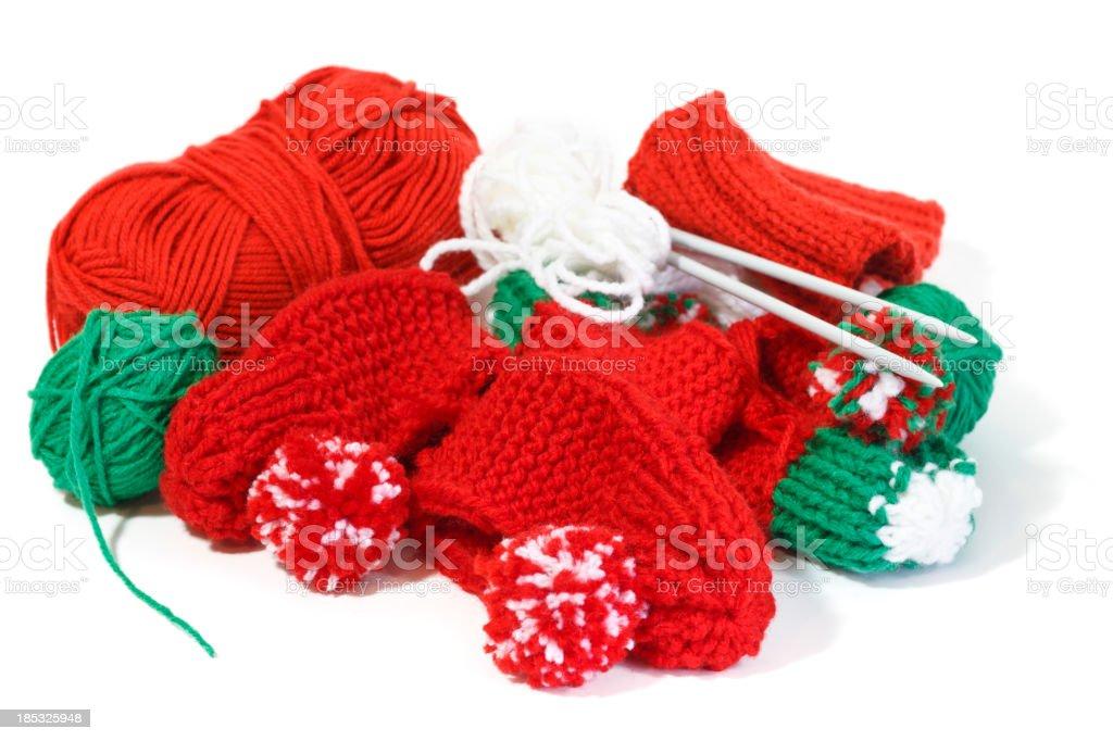 Handmade Knitted Christmas Slippers stock photo