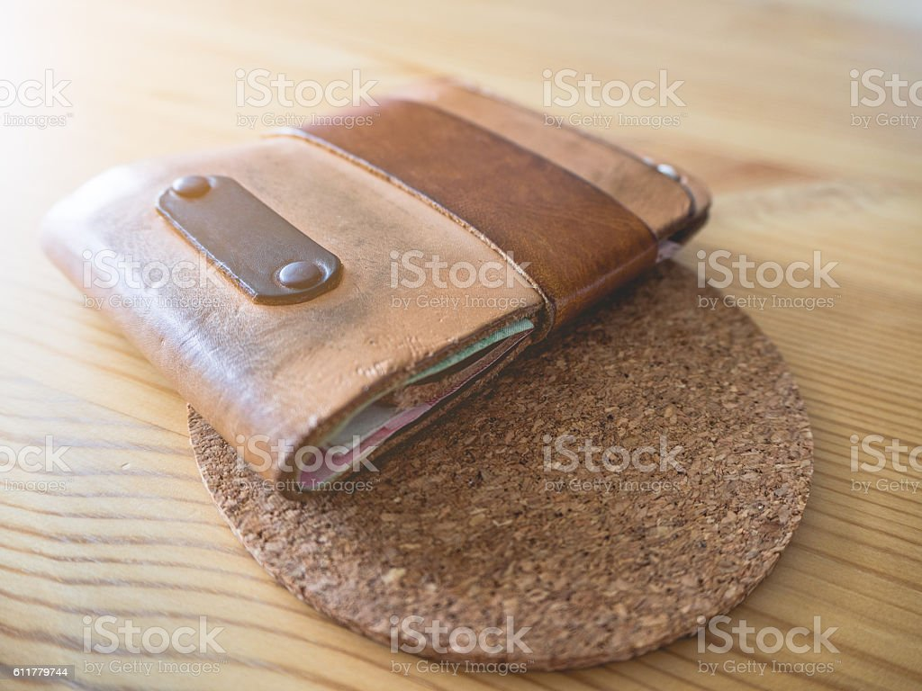 Handmade leather wallet. stock photo