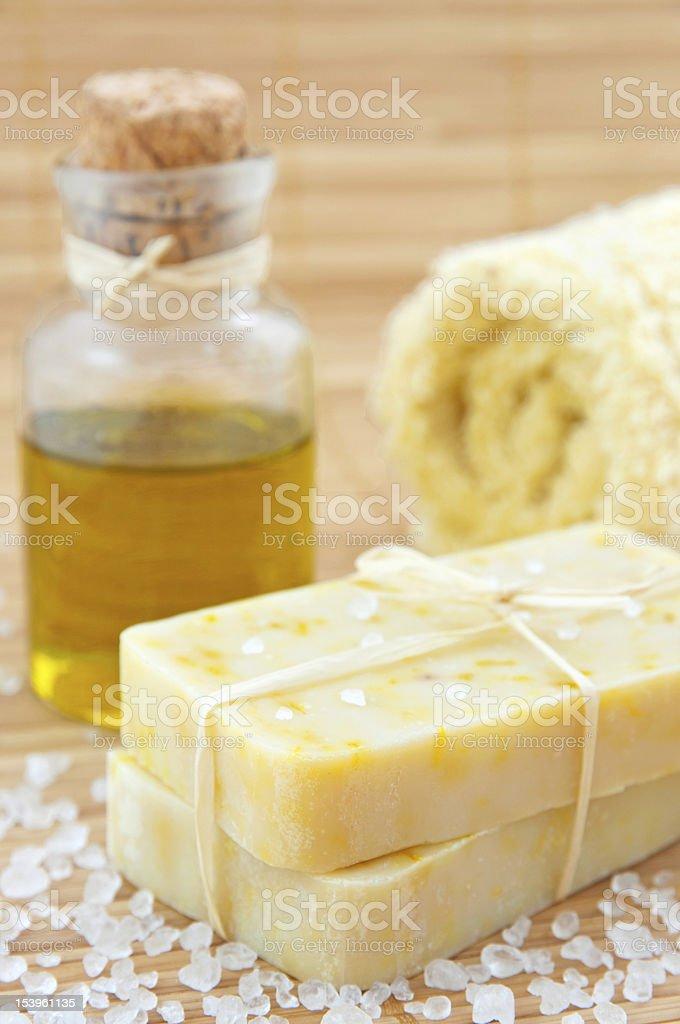 Hand-made marigaold soap stock photo