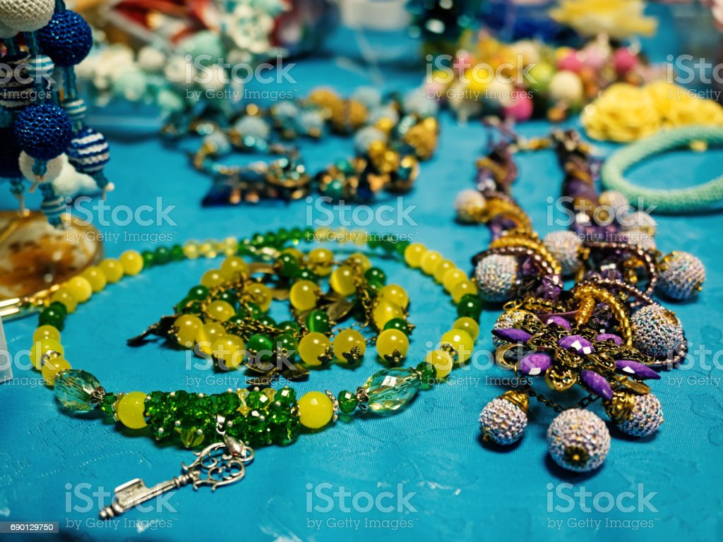 Handmade market. Close-up of handmade beads. Shallow depth of field. stock photo