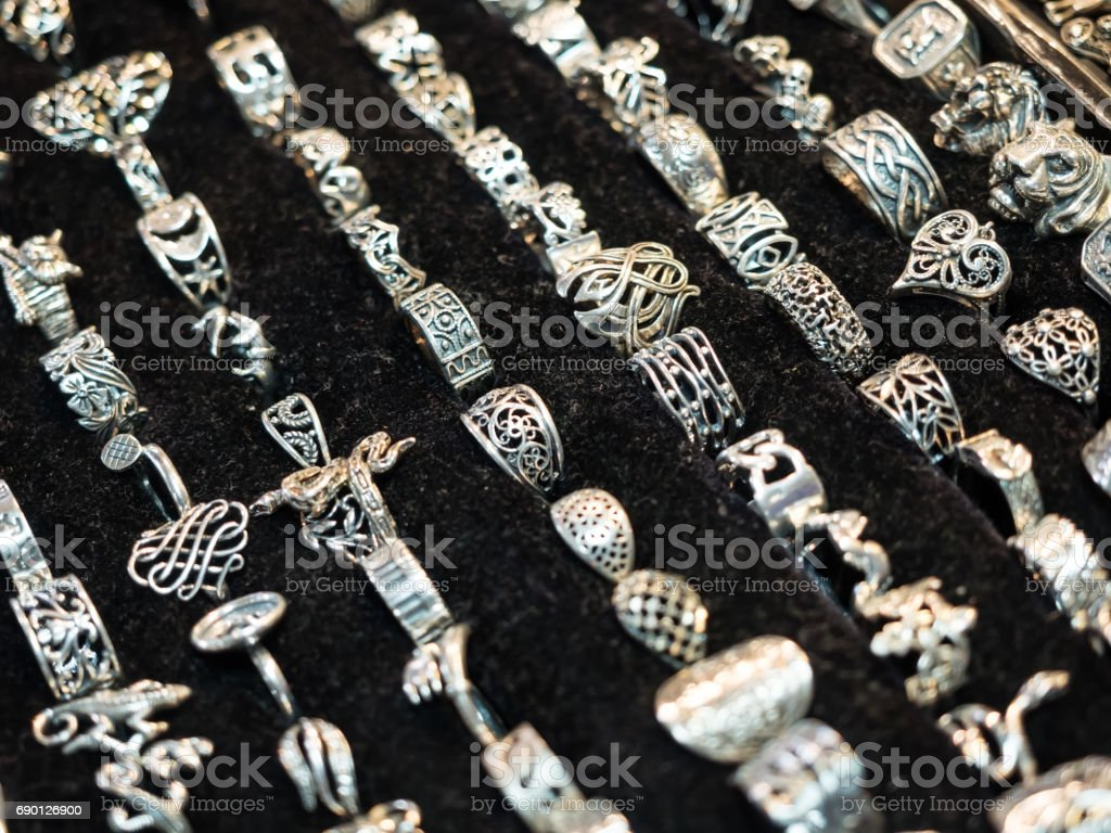 Handmade market. Close-up of handmade rings. Shallow depth of field. stock photo